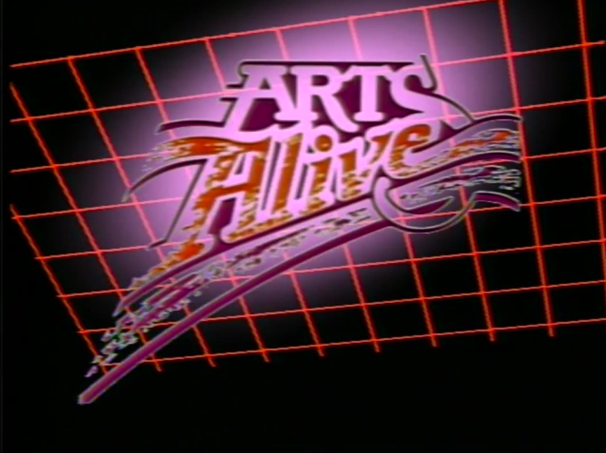 arts alive title screen showing painted style text on red grid background