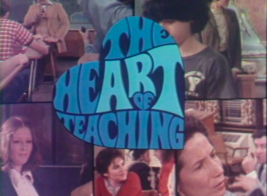 title screen for The Heart of Teaching with word art in the shape of a heart and stills from the program showing faces of students and teachers