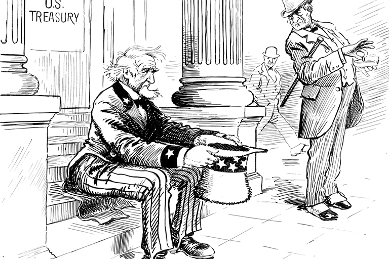 Uncle Sam holds out his hat while a rich man disdainfully picks at his wallet.