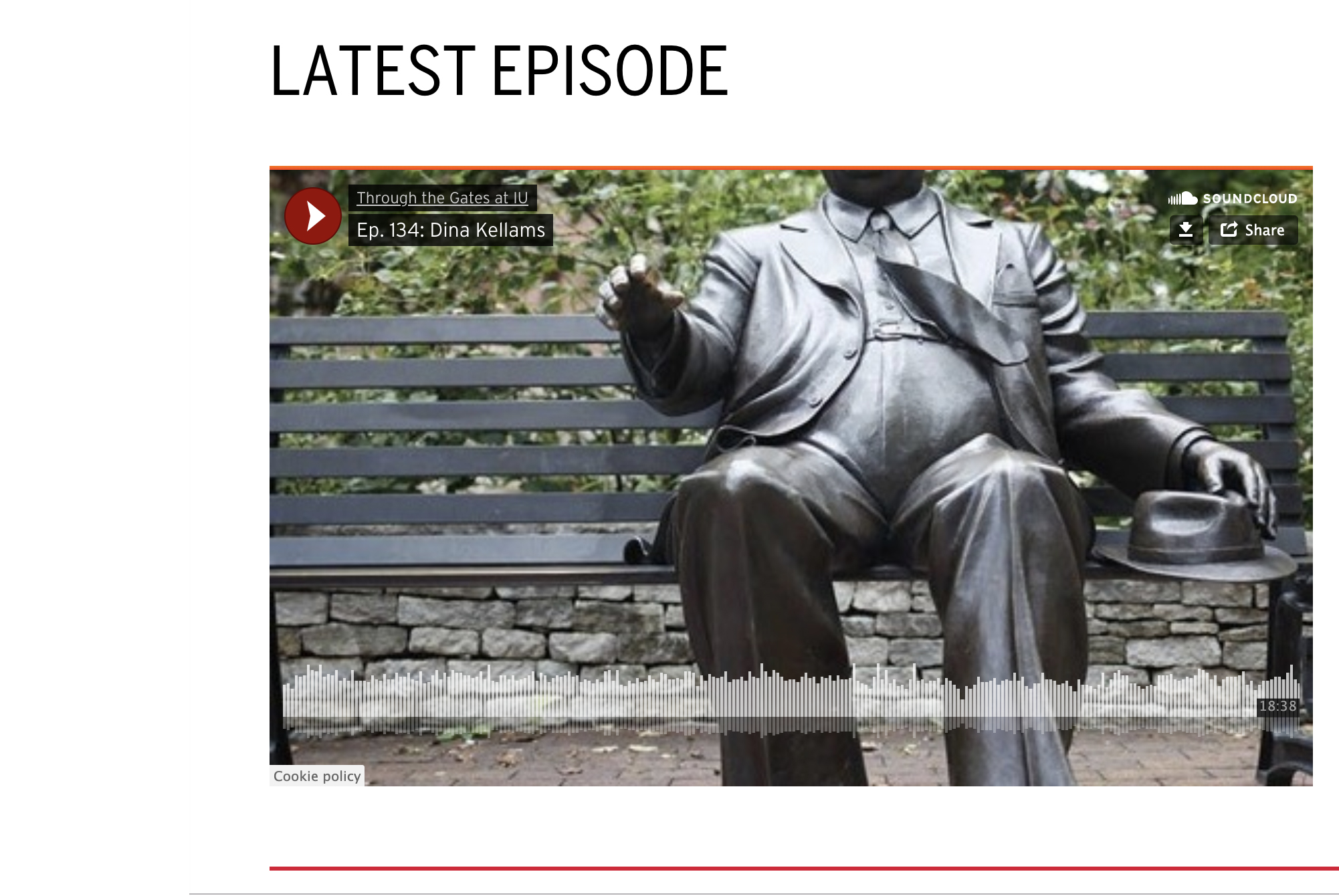 A screen shot taken of the introduction graphic for a SoundCloud Podcast. The image is a statue of a man sitting on a bench, it is Herman B Wells. Over the top are words that share that this is episode 143.