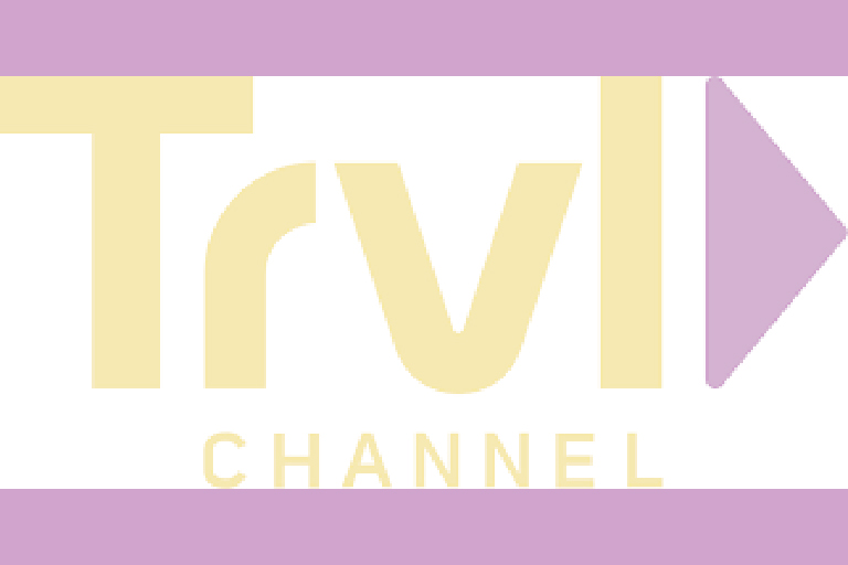 "A graphic in purple and yellow. The letters ""Trvl"" and large and underneath them the word ""Channel"" is written."