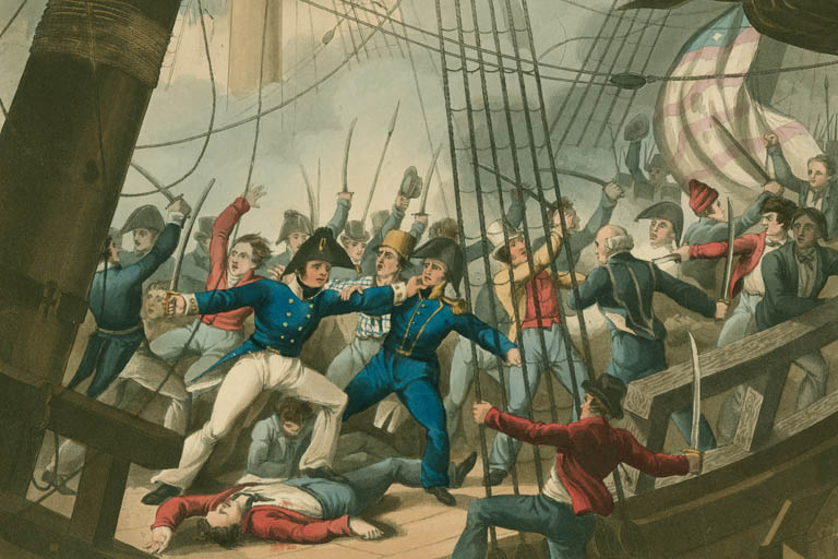 Scene of men fighting aboard the sailing ship Chesapeake