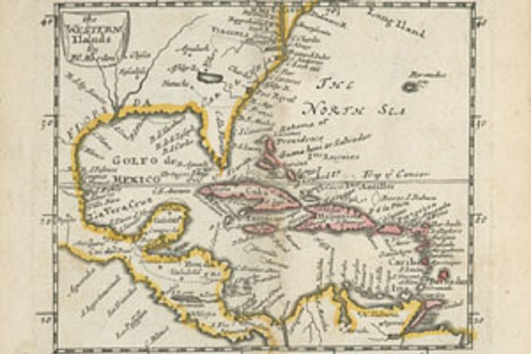 Western Ilands by Morden, 1680 (sepia toned map of southeastern North America and islands)
