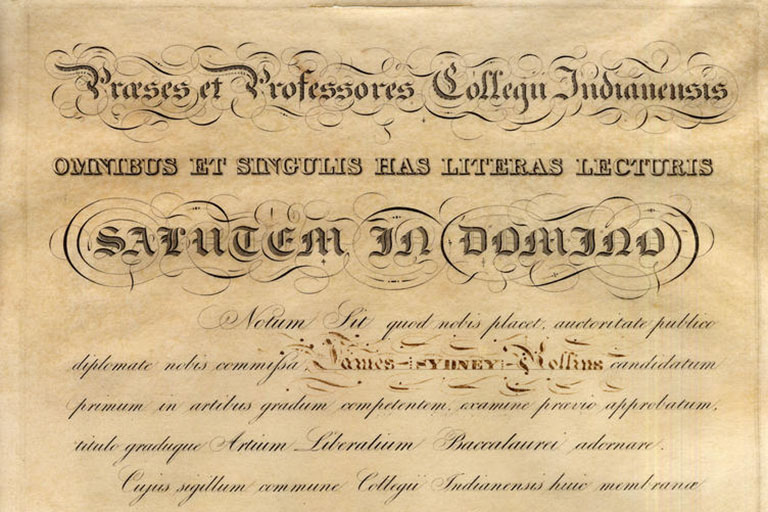 Diploma of James Sidney Rollins, 1830