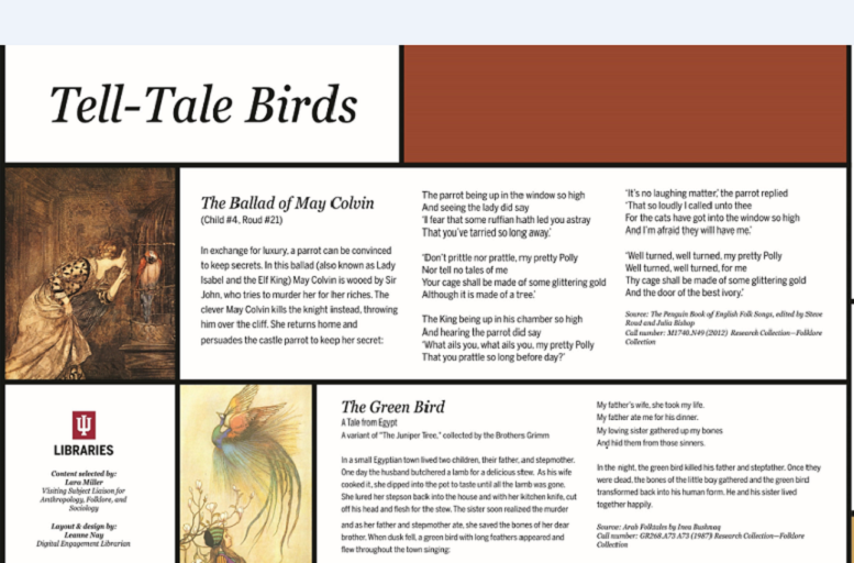 The Ballad of May Colvin, The Green Bird, and Twa Corbies ballads