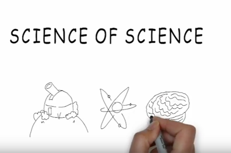 """Science of Science"" - sketches of observatory, atom, and brain"