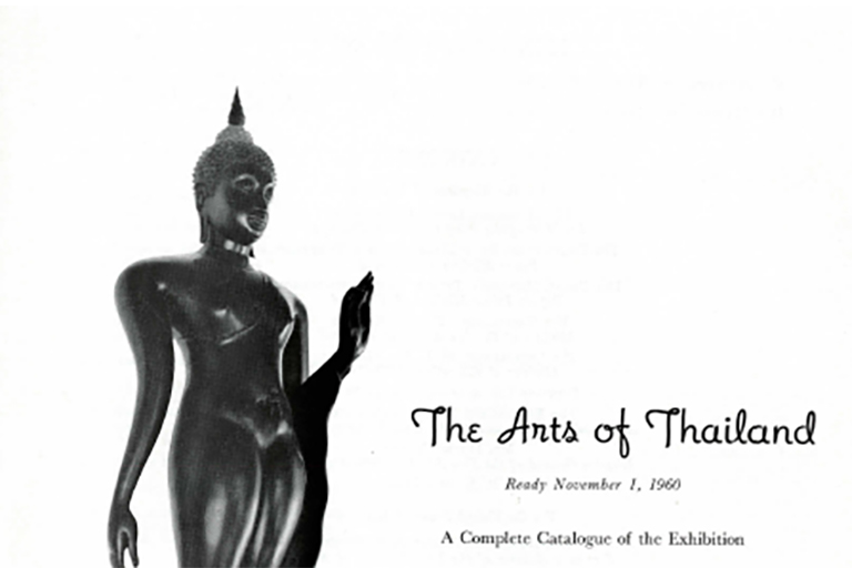Image shows a statue and exhibition title from 1960 catalog