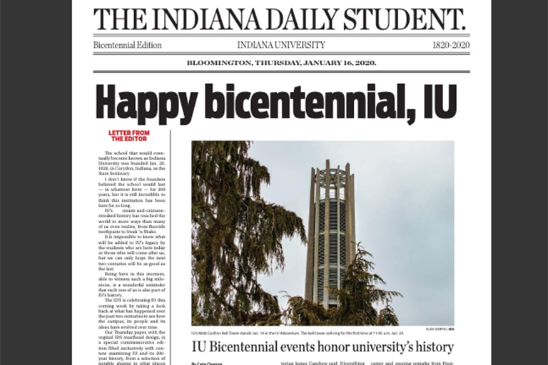 A photo image of the front page of the Indiana Daily Student newspaper, dated Jan. 17, 2020