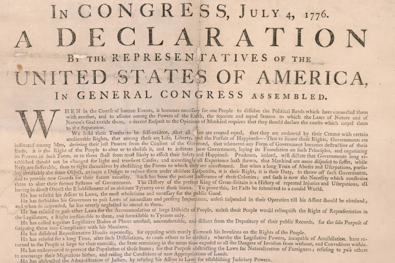 Text of the U.S. Declaration of Independence, first printing, by John Dunlap