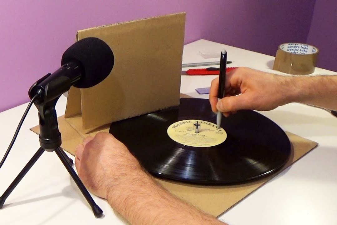 Image of a cardboard record player
