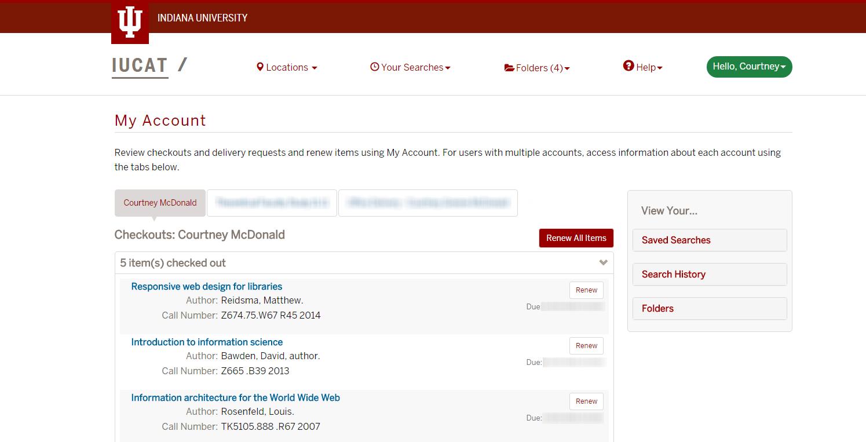Screenshot, IUCAT Library Catalog: updates to My Account screen
