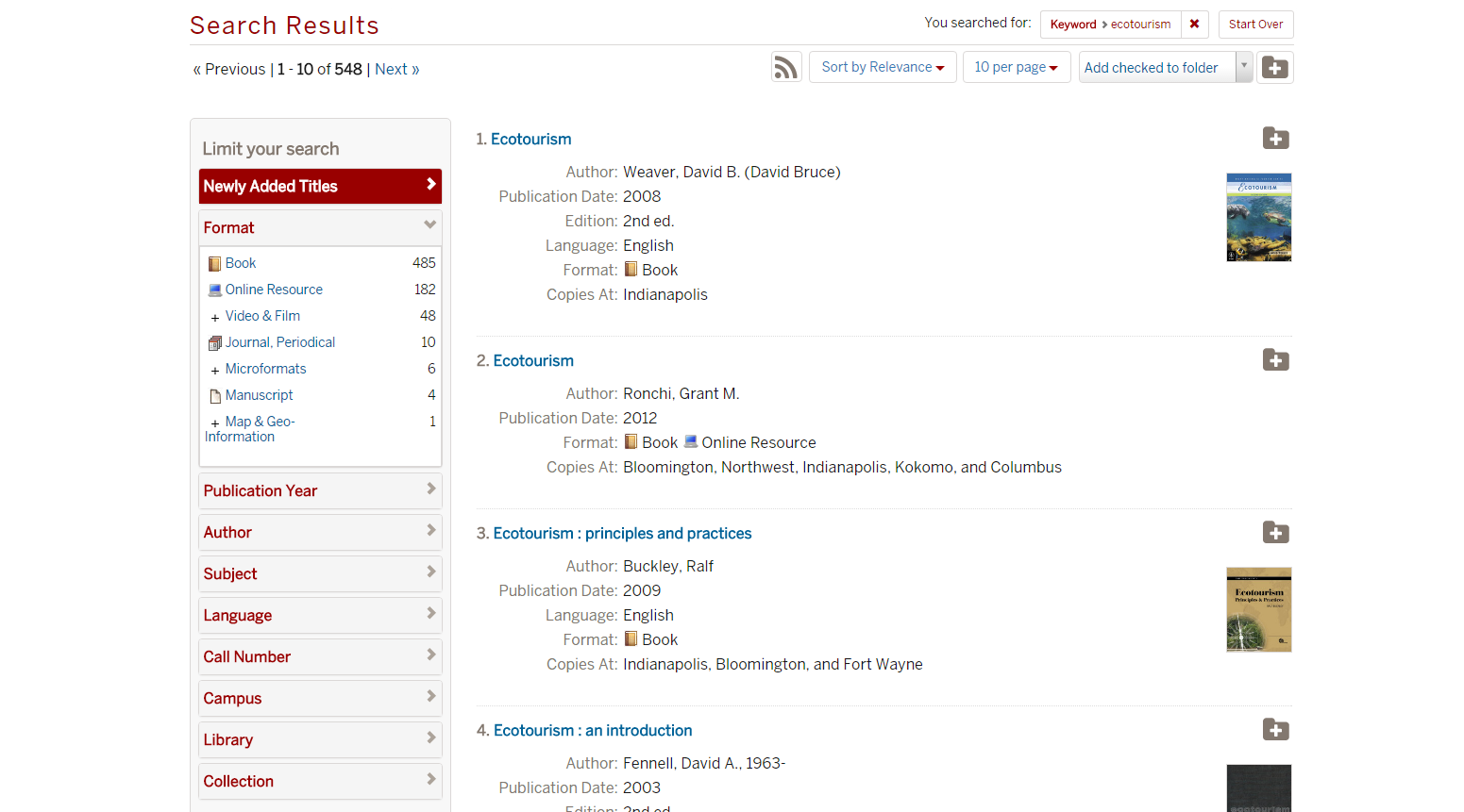 Screenshot, IUCAT Library Catalog: updates to search results screen