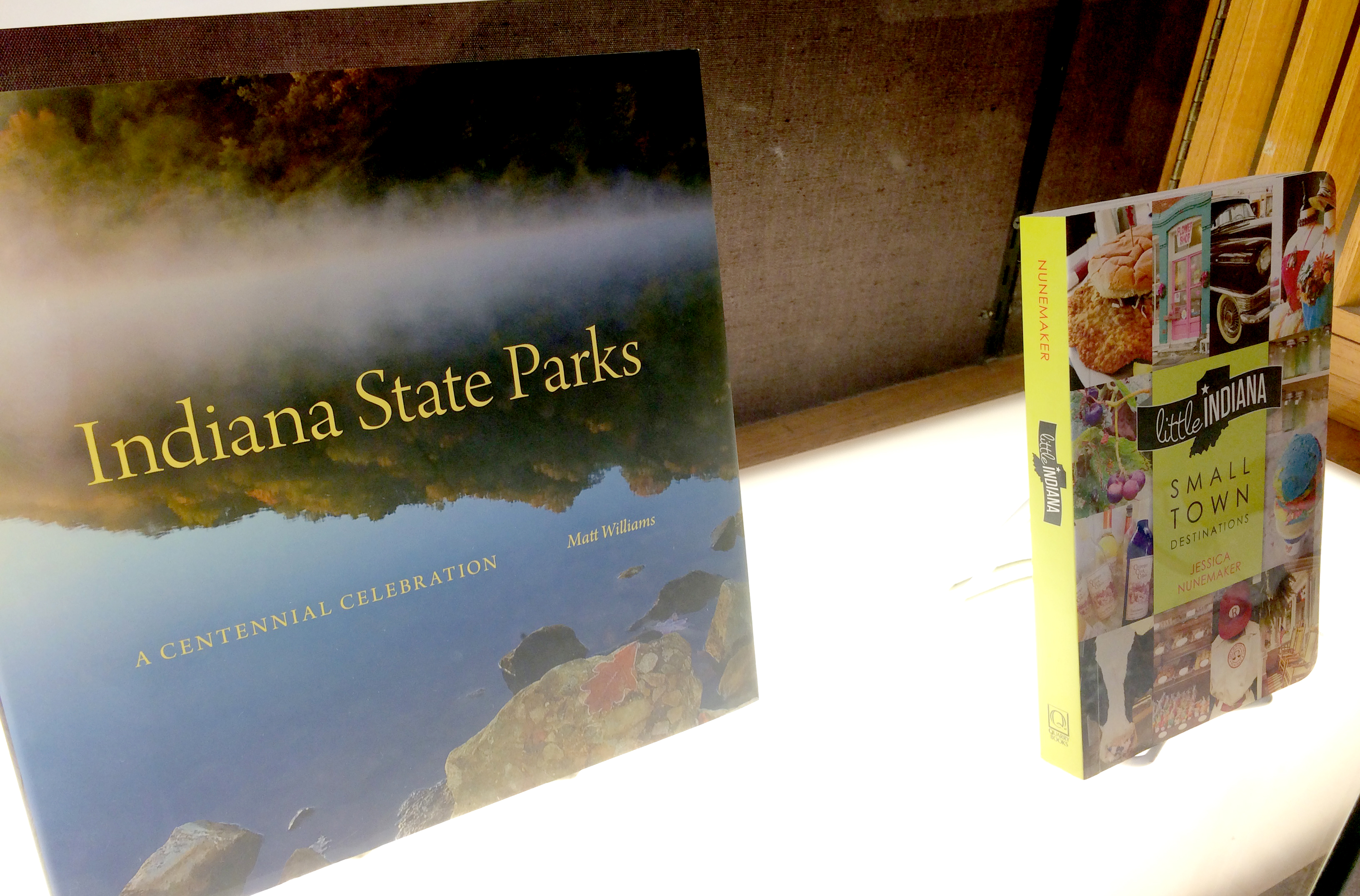 Photo of two books being sold at Wells Library