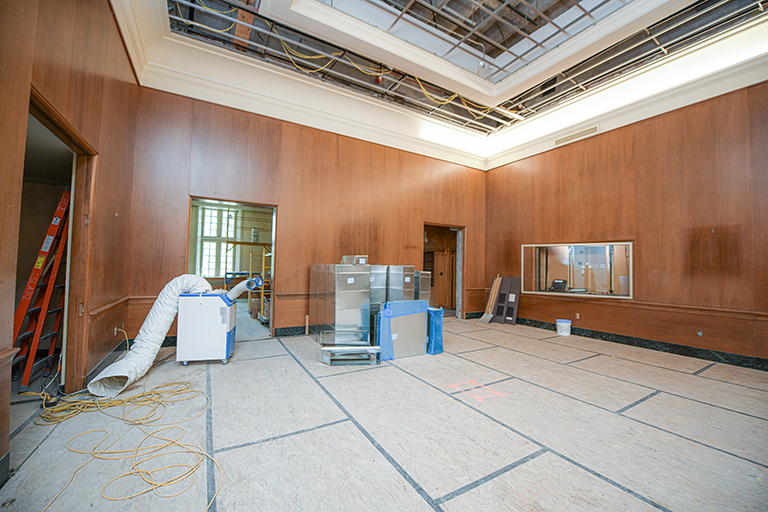Empty Lilly main gallery undergoing construction summer 2020