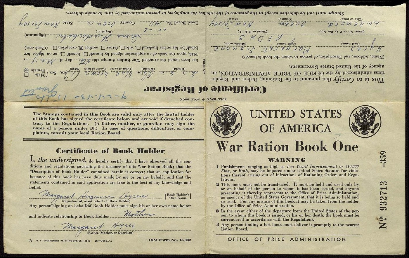 Image of World War 2 ration book from 1943