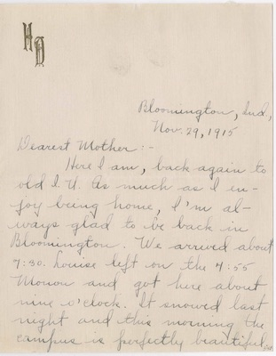 First page of letter from Helen Hopkins to her mother, November 29, 1915