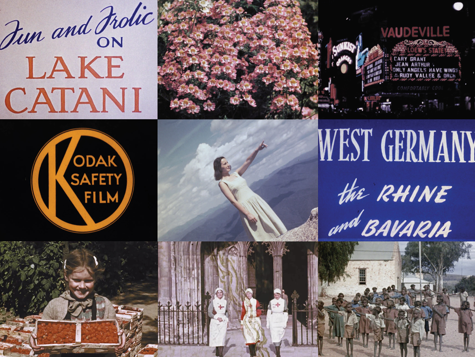 collage of home movies and title cards showing a young woman and children