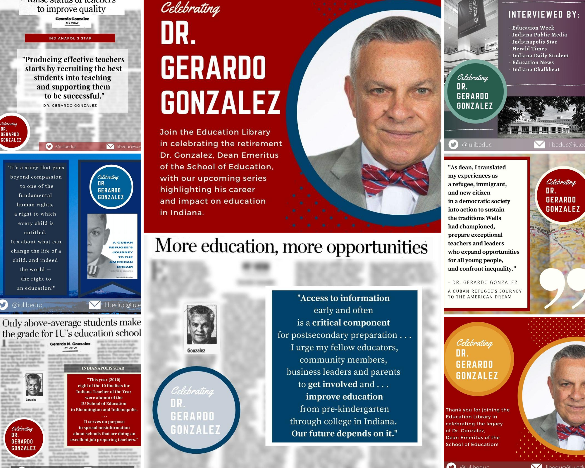 Collage of Indiana Remixed: Celebrating Dr. Gonzalez Twitter Exhibit.