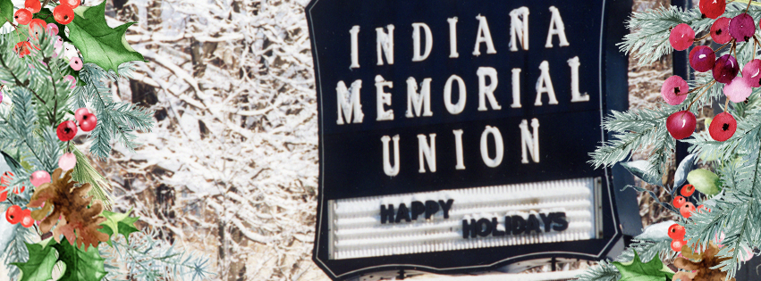 A snow image of a sign that reads Indiana Memorial Union