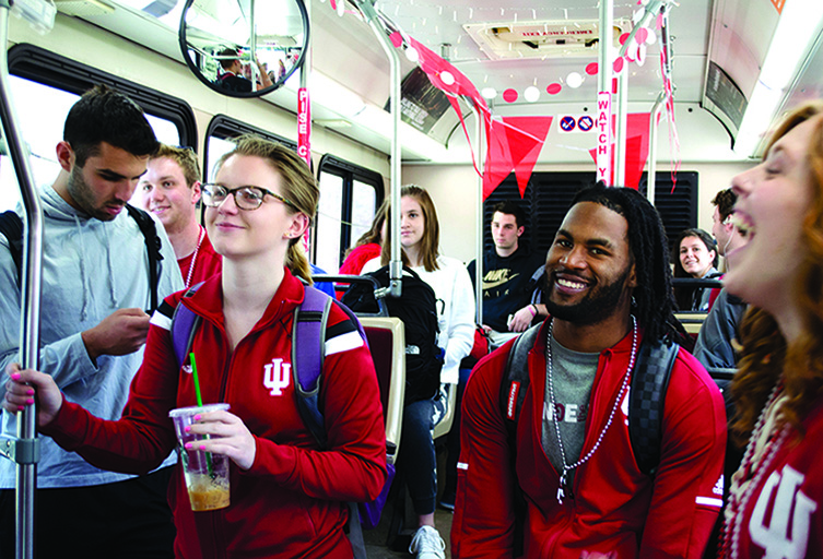 Image of student on A Bus on IU Day