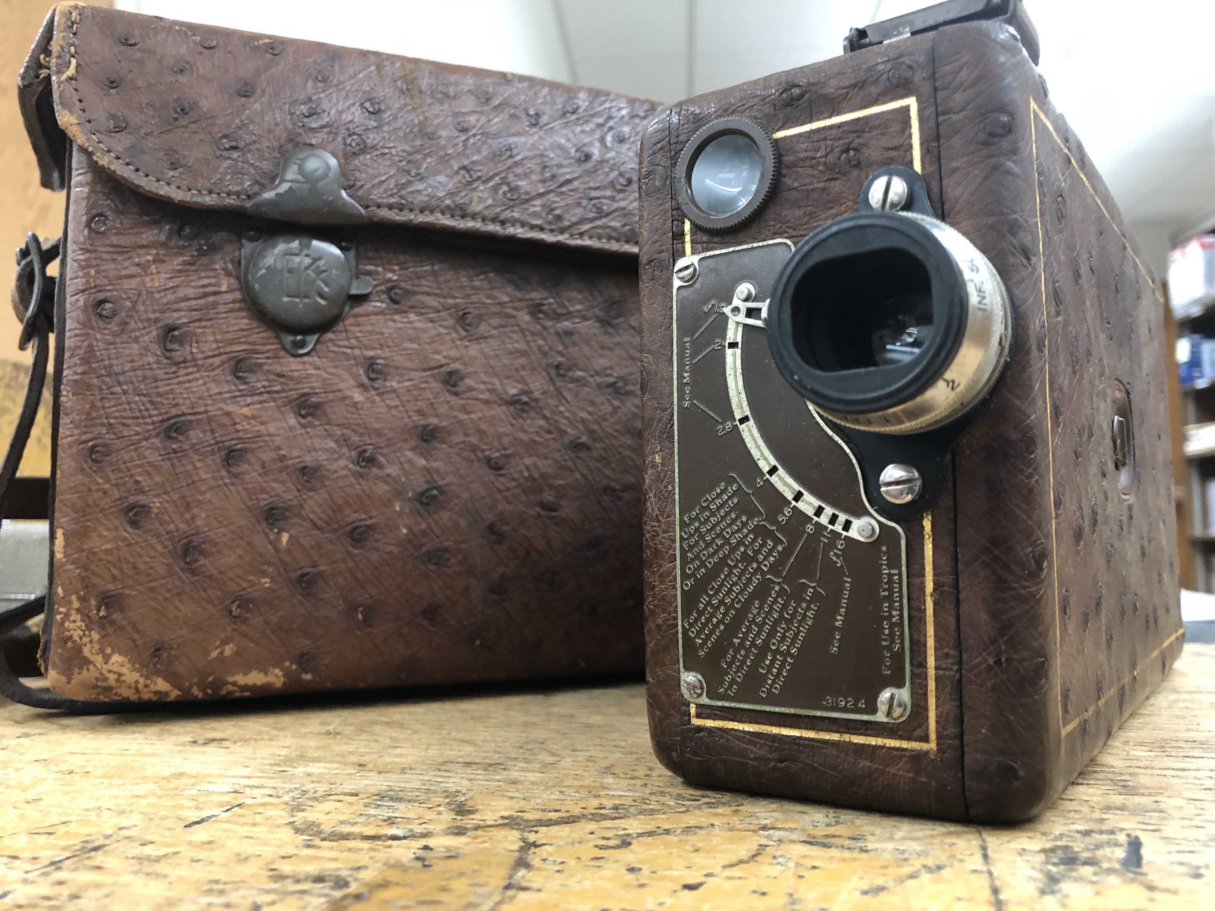 A picture of the 16mm Ciné-Kodak Model B in ostrich leather with matching case. In production from 1927-1931 the Model B was the Cadillac of amateur cameras.
