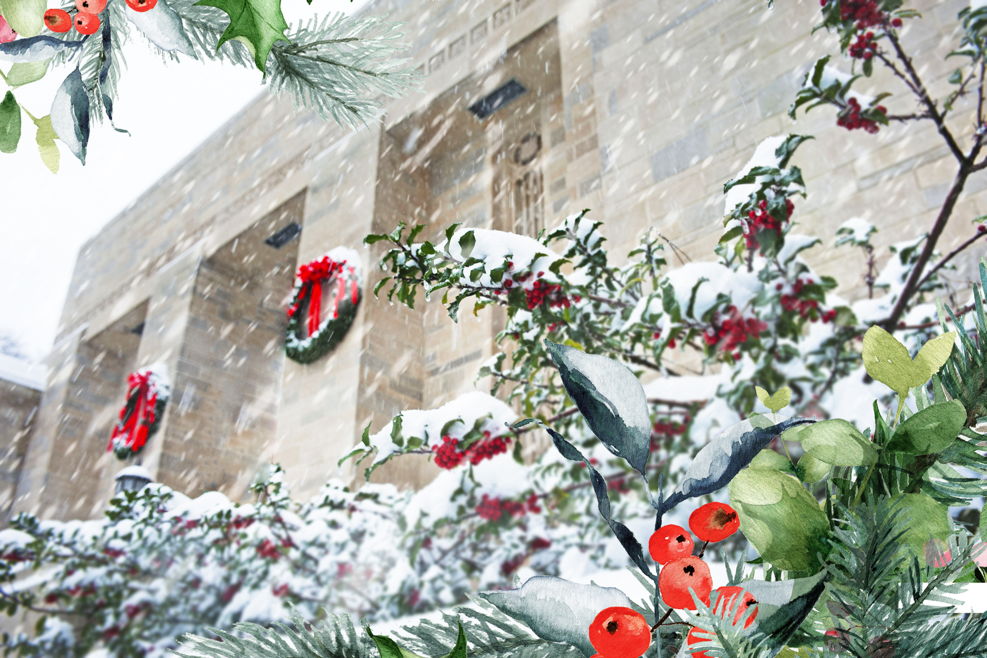 A snow covered Lilly Library is depicted with a festive frame of greenery overlaid on the image