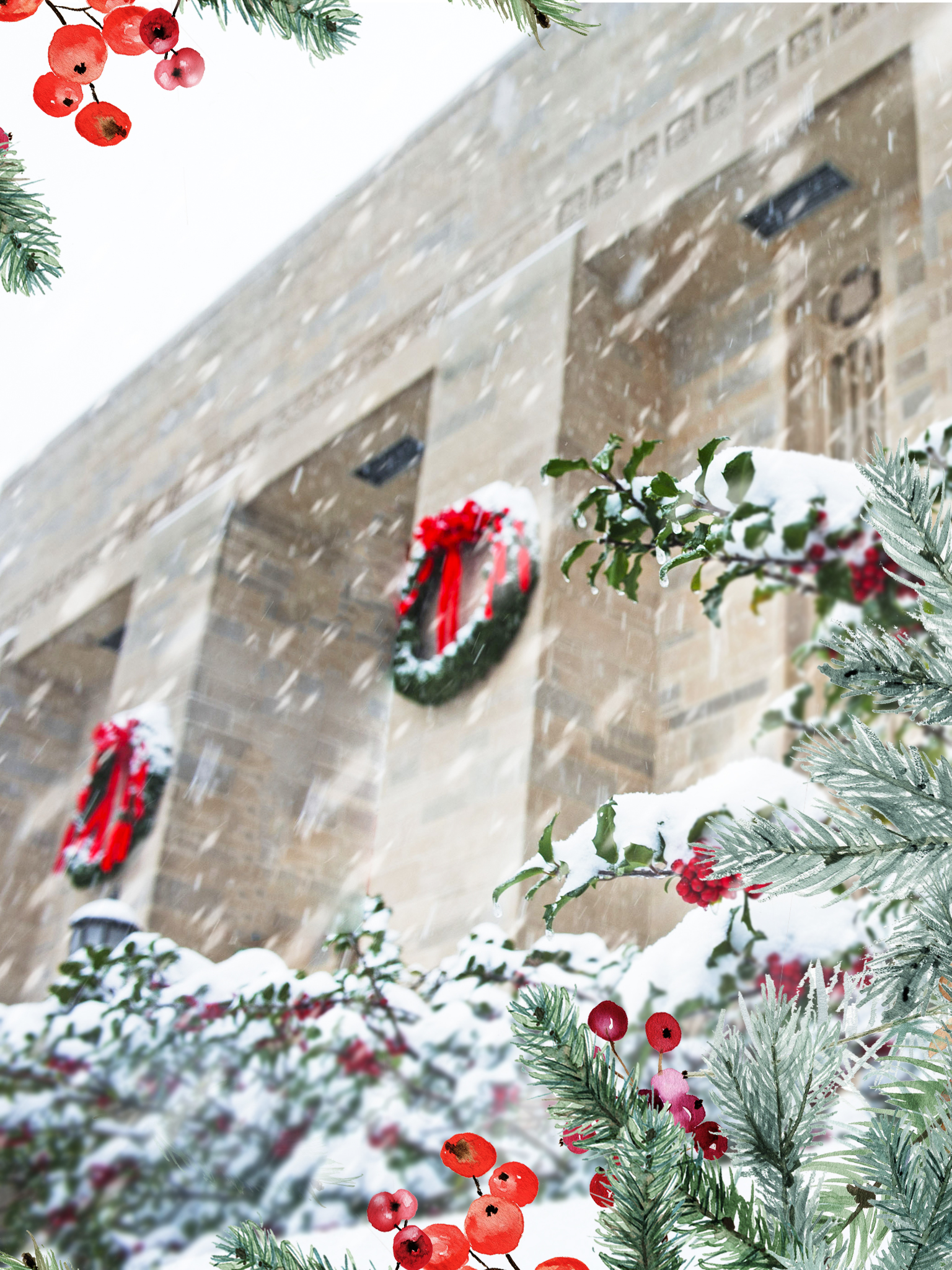 A festive frame of greenery is overlaid on a photo of the Lilly Library in the snow.