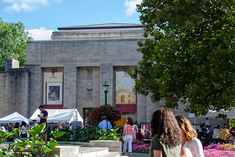 An exterior photo of the Lilly Library during a busy festival