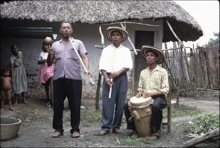 Three Gaita musicians from San Jacinta, Colombia, November 6, 1964.