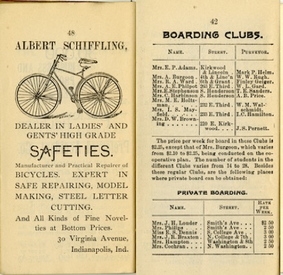 1893-1894 IU Student Handbook ad for bikes and information on boarding