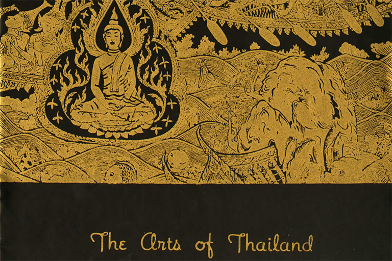 Image shows cover of a 1960 exhibition catalog for the Art of Thailand