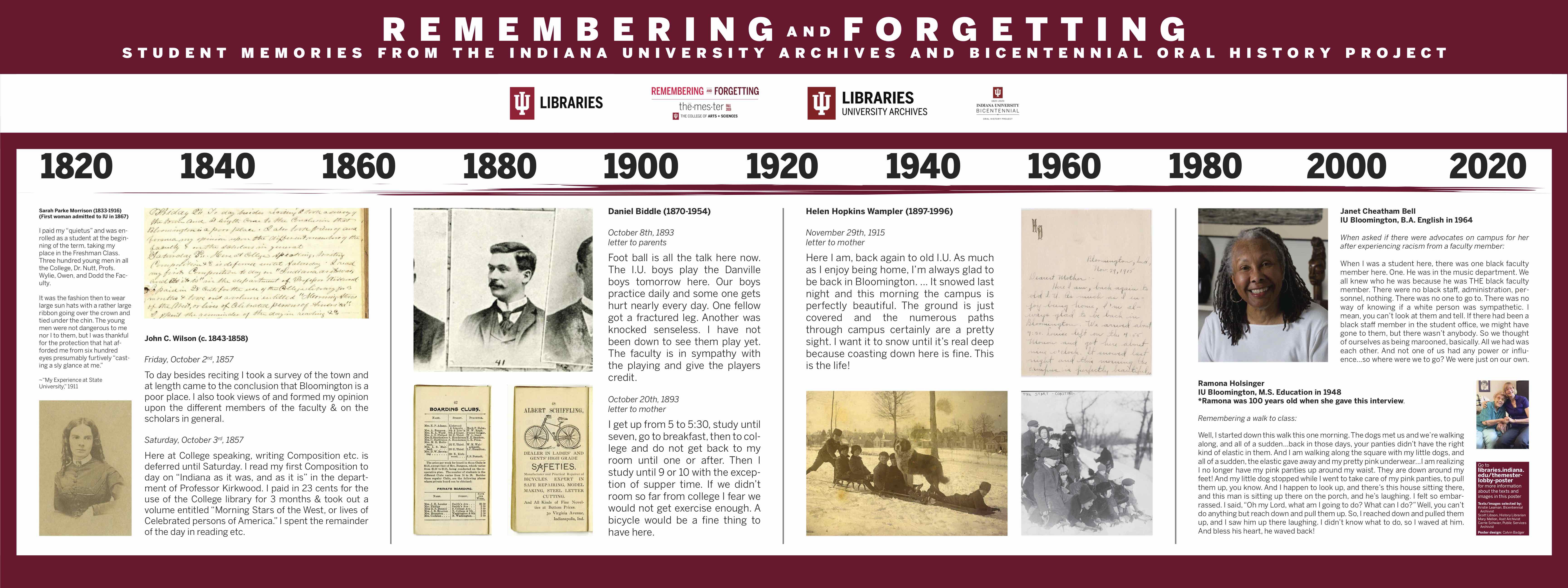 Themester poster currently in the Wells Library lobby with images and texts recalling student experiences at IU