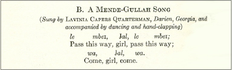 Mende song transcription from Lorenzo Dow Turner's book, Africanisms in the Gullah Dialect