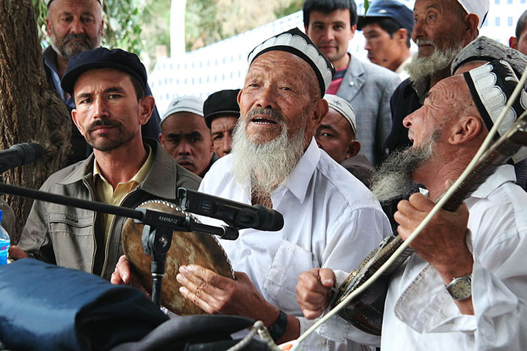 Uyghur Meshrep musicians in 2010 in Yarkand County, Xinjiang Uyghur Autonomous Region, China