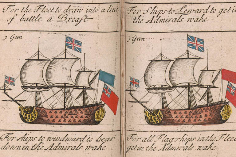 Two eighteenth century ships from a manual on naval signals and maneuvers.
