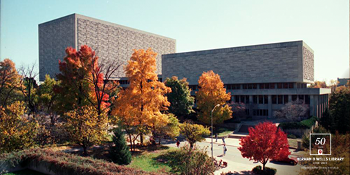 Image of Wells Library in the fall of 1993
