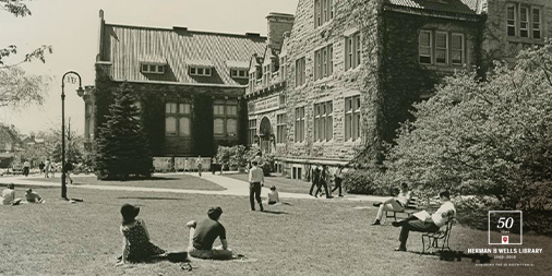 A black and white photo of the exterior of Franklin Hall in 1968.