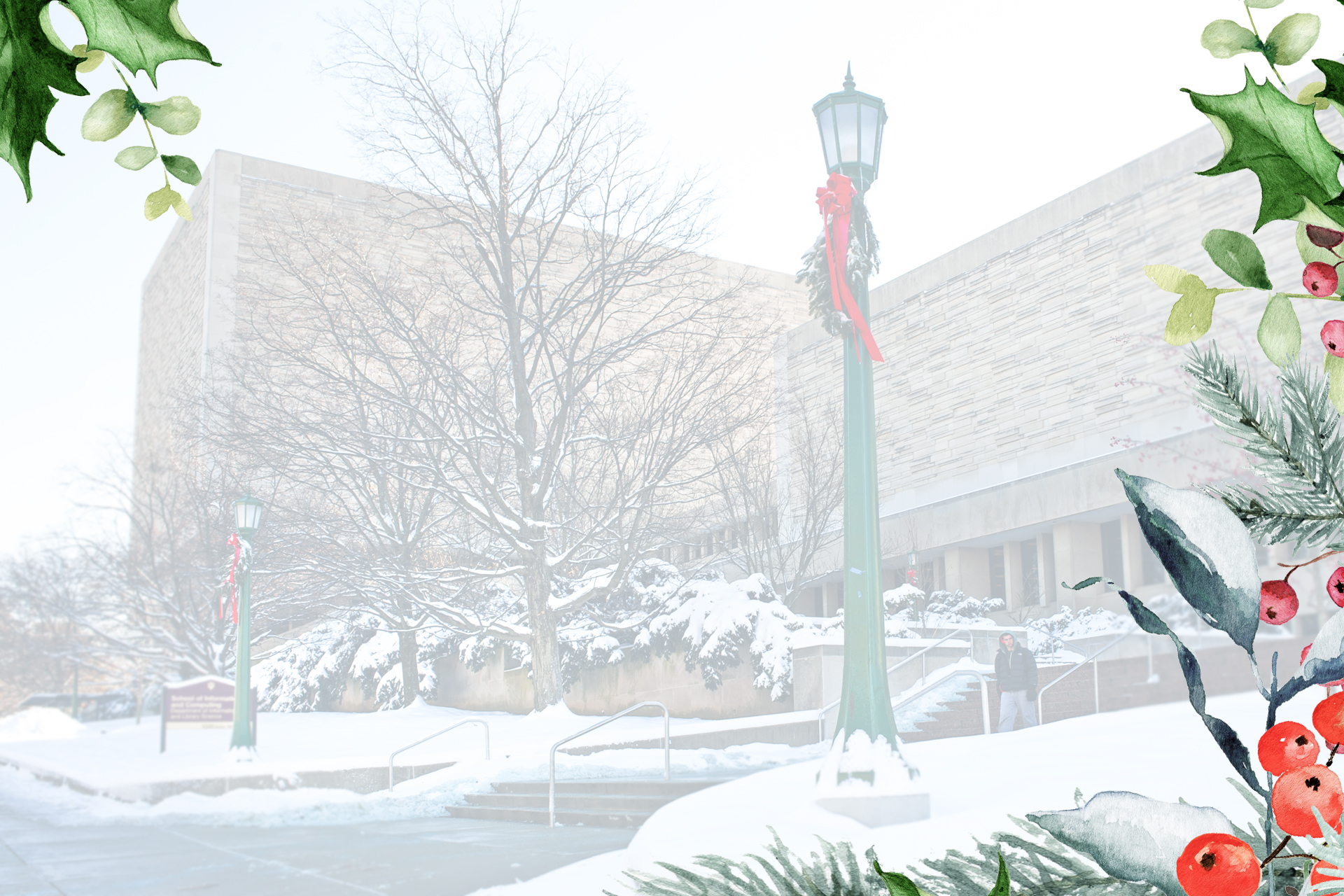 A ghosted photo of the Herman B Wells Library as it faces 10th street. A festive border is applied.