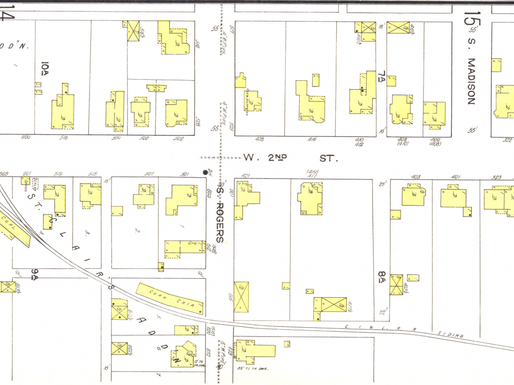 Sanborn Fire Insurance map showing the street and building layout around Second and Rogers intersection in Bloomington, Indiana.