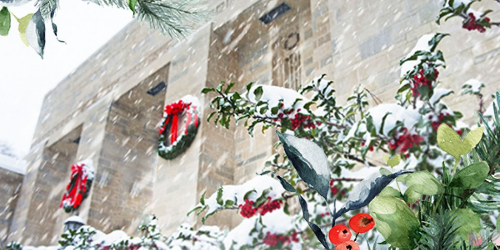 An exterior photo of the front of IU's Lilly Library, in the snow. A graphic frame has been applied to make it festive.