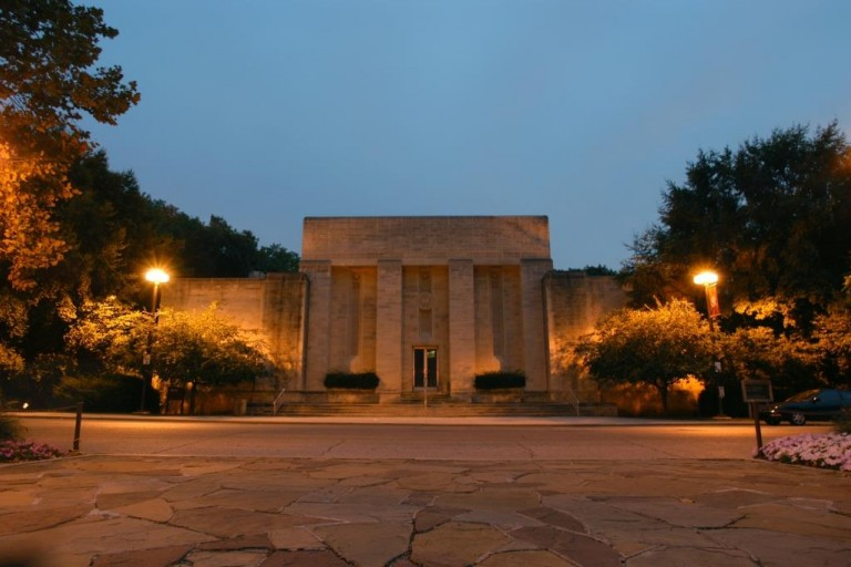 outside night time shot of Lilly Library