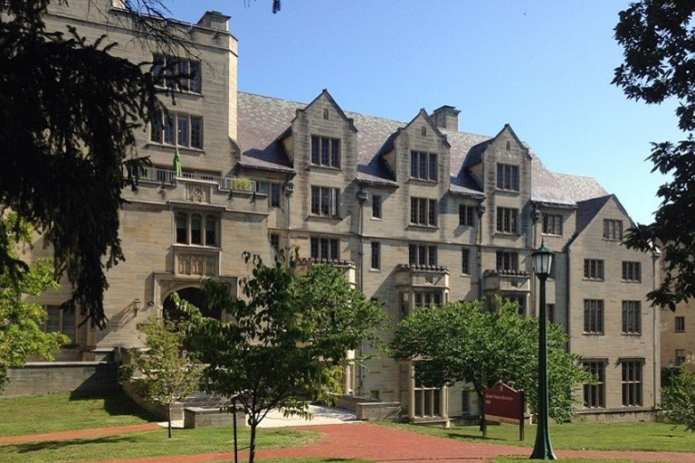 Exterior view of Morrison Hall, south facade of the building