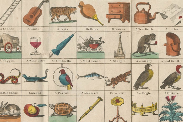 A printed and hand-colored picture sheet showing various animals and everyday objects.