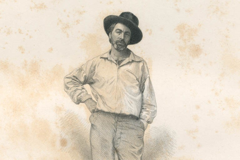 Engraving of Walt Whitman, open-necked shirt, cocked hat