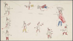 Drawing of a Native American battle