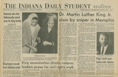 Front page of Indiana Daily Student, April 5, 1968