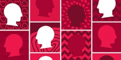 Silhouette of faces on top of bright patterned backgrounds