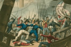 American and British soldiers fighting on the deck of the ship Chesapeake