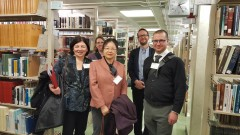 Visiting colleagues in the East Asian Collection, 8th floor of Wells Library