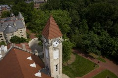 Aerial view of clock tower on the Student Building at IU Bloomingonn